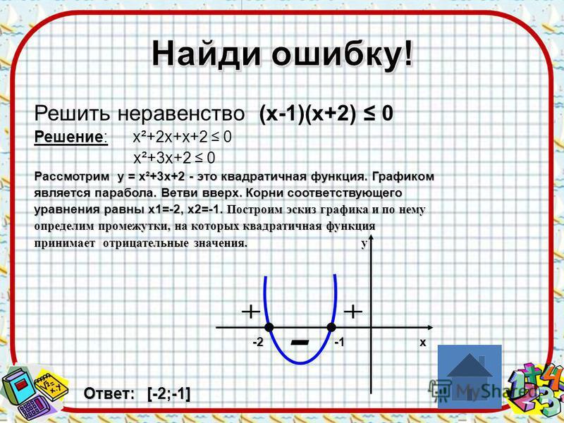 Решить неравенство (х-1)(х+2) 0 Решение: х²+2 х+х+2 0 х²+3 х+2 0 Рассмотрим у = х²+3 х+2 - это квадратичная функция. Графиком является парабола. Ветви вверх. Корни соответствующего уравнения равны х 1=-2, х 2=-1. Построим эскиз графика и по нему опре