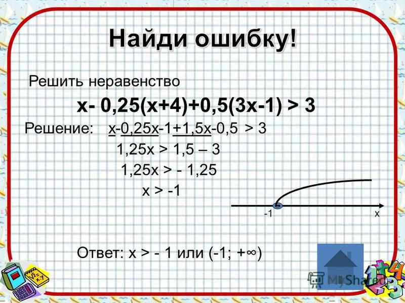 Решить неравенство х- 0,25(х+4)+0,5(3 х-1) > 3 Решение: х-0,25 х-1+1,5 х-0,5 > 3 1,25 х > 1,5 – 3 1,25 х > - 1,25 х > -1 -1 х Ответ: х > - 1 или (-1; +)