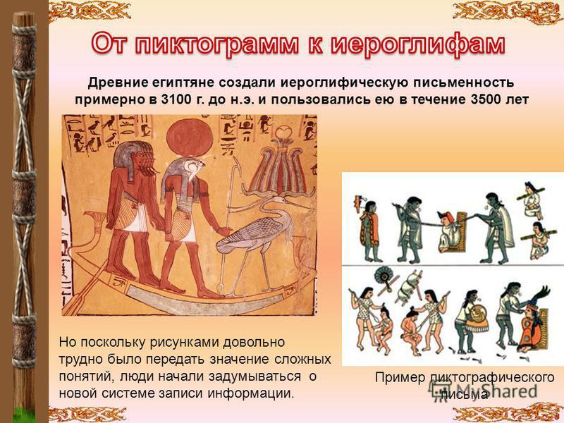 Древние египтяне создали иероглифическую письменность примерно в 3100 г. до н.э. и пользовались ею в течение 3500 лет Но поскольку рисунками довольно трудно было передать значение сложных понятий, люди начали задумываться о новой системе записи инфор