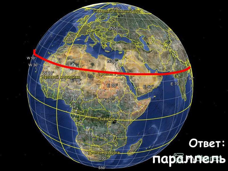 На восходе Солнце я встречаю, на закате – провожаю. Невидимкой Восток и Запад я соединяю. Ответ: параллель
