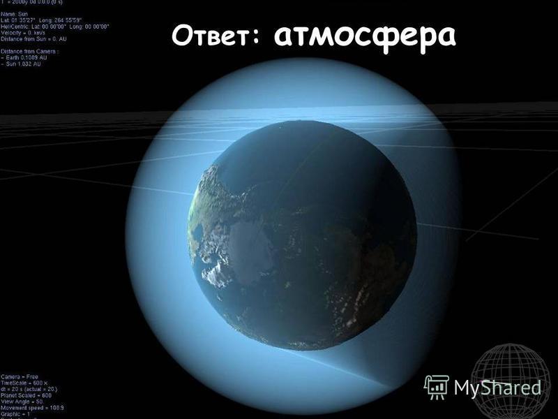 Голубой шатёр весь мир накрыл. То Солнцем палит, то дождём поливает. От холода космического всех спасает. Ответ: атмосфера