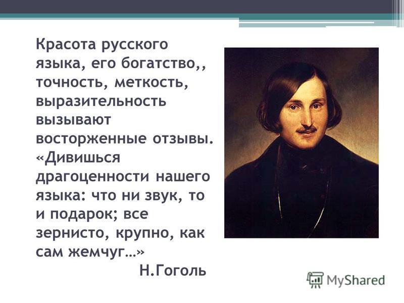 Красота русского языка, его богатство,, точность, меткость, выразительность вызывают восторженные отзывы. «Дивишься драгоценности нашего языка: что ни звук, то и подарок; все зернисто, крупно, как сам жемчуг…» Н.Гоголь