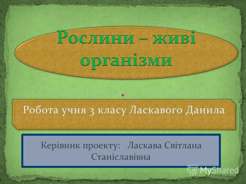 Робота учня 3 класу Ласкавого Данила Керівник проекту: Ласкава Світлана Станіславівна