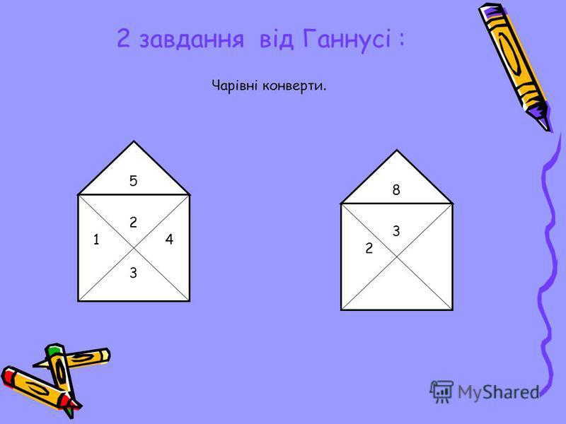 2 завдання від Ганнусі : Чарівні конверти. 2 1 4 3 5 3232 8