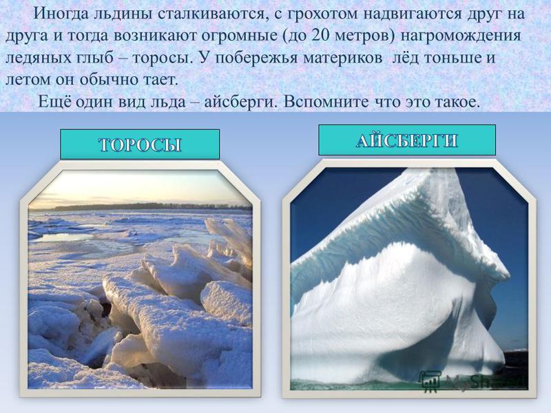 Иногда льдины сталкиваются, с грохотом надвигаются друг на друга и тогда возникают огромные (до 20 метров) нагромождения ледяных глыб – торосы. У побережья материков лёд тоньше и летом он обычно тает. Ещё один вид льда – айсберги. Вспомните что это т