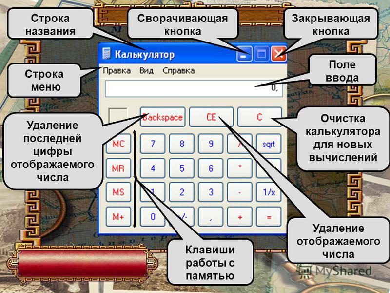 Программа КАЛЬКУЛЯТОР незнакомое приложение MS Office. Следовательно для дальнейшего пути надо изучить особенности работы с ней, т. е. выучить назначение всех её элементов.
