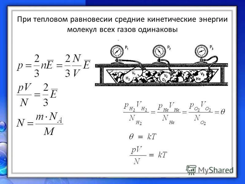 При тепловом равновесии средние кинетические энергии молекул всех газов одинаковы