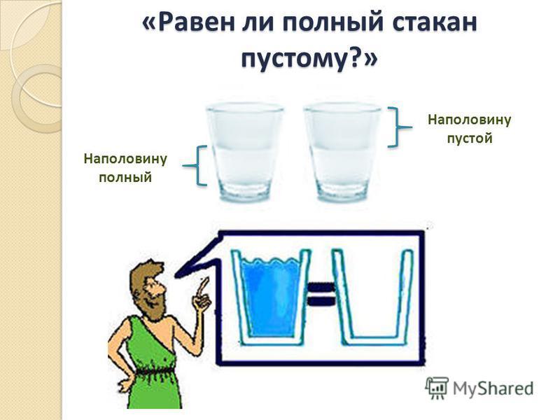«Равен ли полный стакан пустому?» Наполовину полный Наполовину пустой