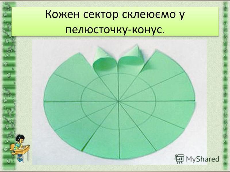 Кожен сектор склеюємо у пелюсточку-конус. Кожен сектор склеюємо у пелюсточку-конус.