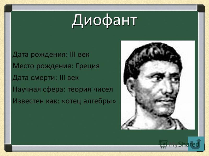 Диофант Дата рождения: III век Место рождения: Греция Дата смерти: III век Научная сфера: теория чисел Известен как: «отец алгебры»