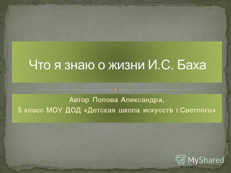 Автор Попова Александра, 5 класс МОУ ДОД «Детская школа искусств г.Светлого»