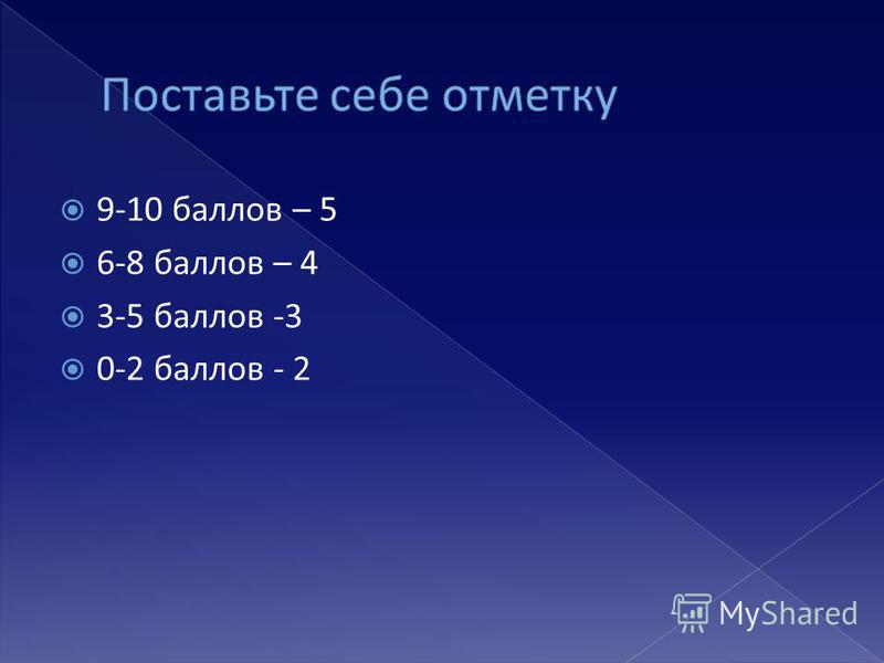 9-10 баллов – 5 6-8 баллов – 4 3-5 баллов -3 0-2 баллов - 2