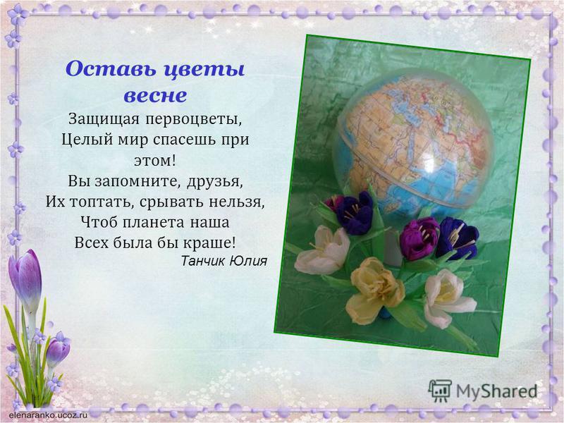 Оставь цветы весне Защищая первоцветы, Целый мир спасешь при этом! Вы запомните, друзья, Их топтать, срывать нельзя, Чтоб планета наша Всех была бы краше! Танчик Юлия