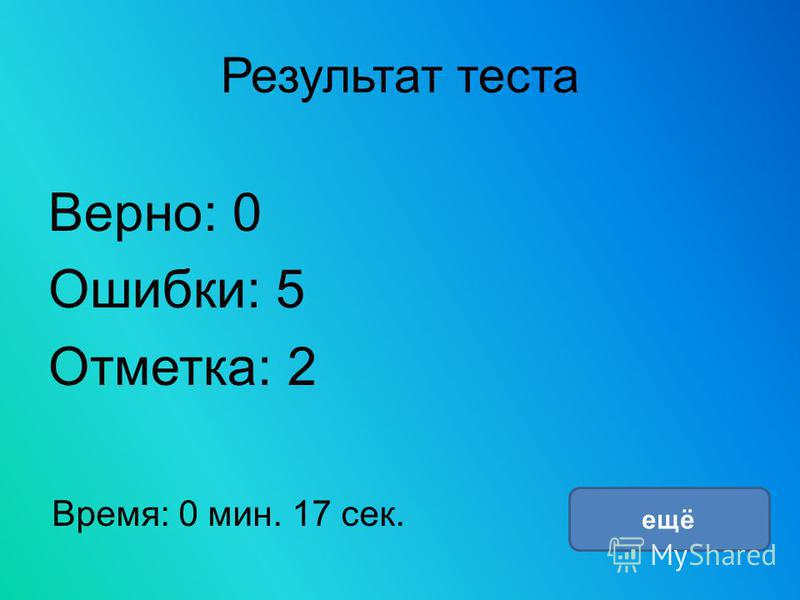 Результат теста Верно: 0 Ошибки: 5 Отметка: 2 Время: 0 мин. 17 сек. ещё