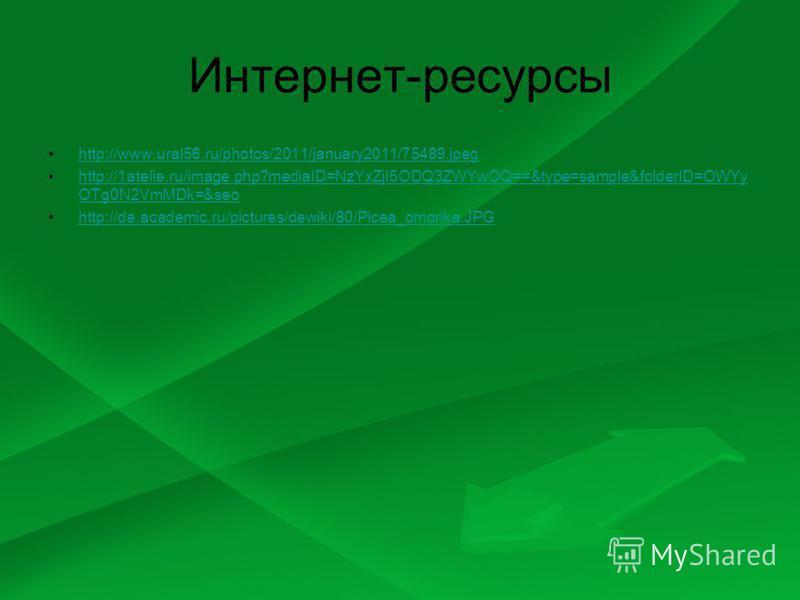Интернет-ресурсы http://www.ural56.ru/photos/2011/january2011/75489.jpeg http://1atelie.ru/image.php?mediaID=NzYxZjI5ODQ3ZWYwOQ==&type=sample&folderID=OWYy OTg0N2VmMDk=&seohttp://1atelie.ru/image.php?mediaID=NzYxZjI5ODQ3ZWYwOQ==&type=sample&folderID=
