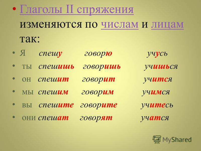 Глаголы II спряжения изменяются по числам и лицам так : Глаголы II спряжения числам лицам Я спешу говорю учусь ты спешишь говоришь учишься он спешит говорит учится мы спешим говорим учимся вы спешите говорите учитесь они спешат говорят учатся
