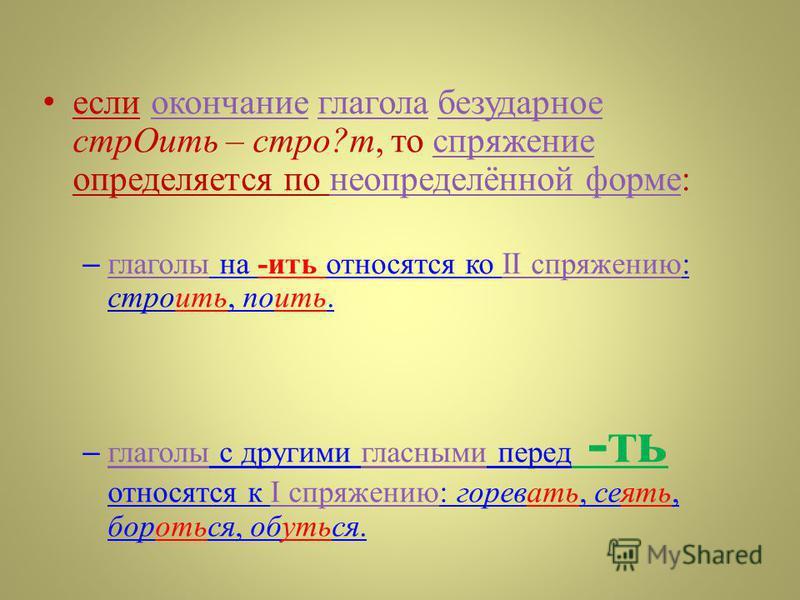 если окончание глагола безударное стр Оить – строй ? т, то спряжение определяется по неопределённой форме : окончание глагола безударное спряжение неопределённой форме – глаголы на - ить относятся ко II спряжению : стройить, поить. глаголыII спряжени