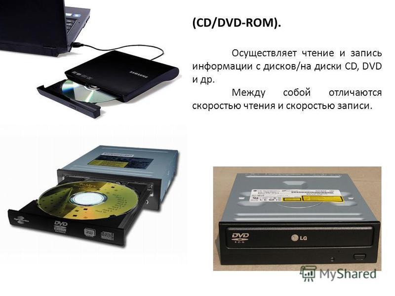 (CD/DVD-ROM). Осуществляет чтение и запись информации с дисков/на диски CD, DVD и др. Между собой отличаются скоростью чтения и скоростью записи.