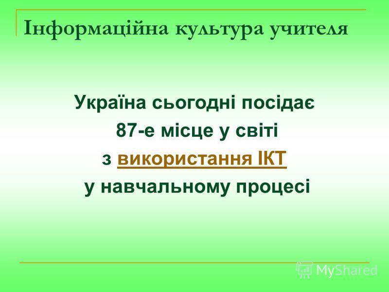 Інформаційна культура учителя Україна сьогодні посідає 87-е місце у світі з використання ІКТвикористання ІКТ у навчальному процесі