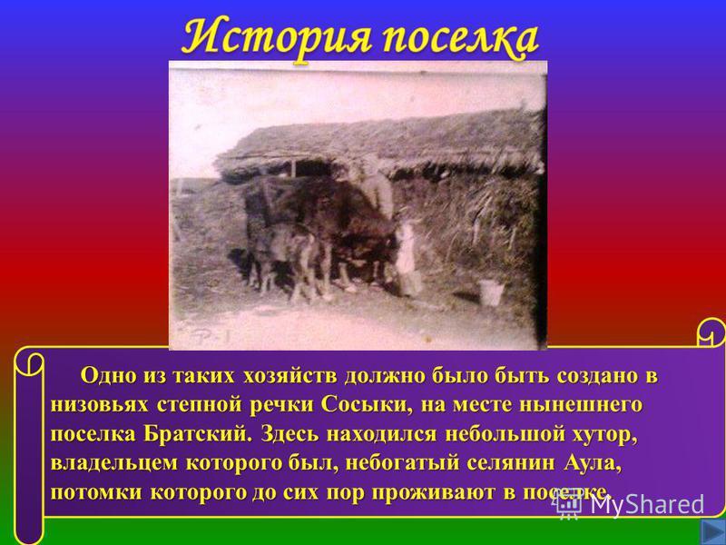 Одно из таких хозяйств должно было быть создано в низовьях степной речки Сосыки, на месте нынешнего поселка Братский. Здесь находился небольшой хутор, владельцем которого был, небогатый селянин Аула, потомки которого до сих пор проживают в поселке. О