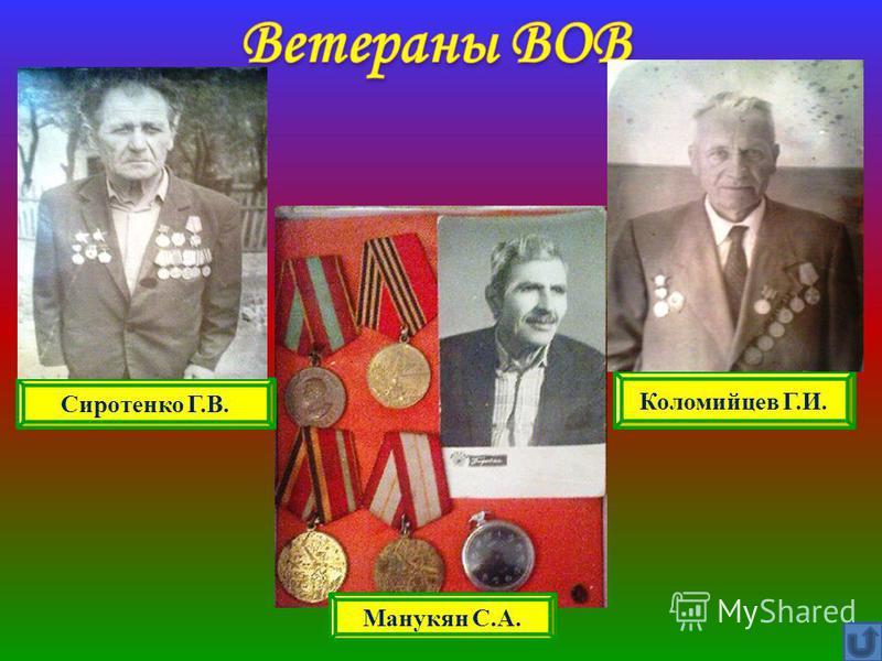 Сиротенко Г.В. Коломийцев Г.И. Манукян С.А.