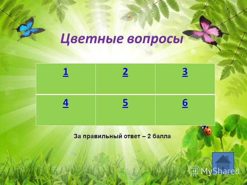 Цветные вопросы 123 456 За правильный ответ – 2 балла