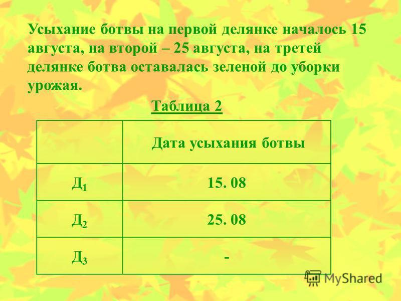 Дата усыхания ботвы Д1Д1 15. 08 Д2Д2 25. 08 Д3Д3 - Таблица 2 Усыхание ботвы на первой делянке началось 15 августа, на второй – 25 августа, на третей делянке ботва оставалась зеленой до уборки урожая.