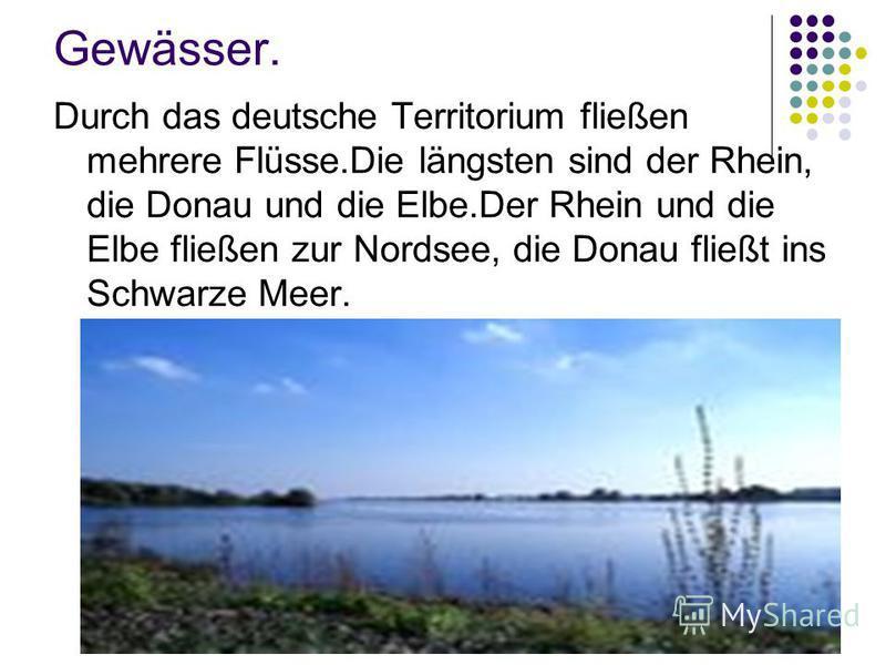 Gewässer. Durch das deutsche Territorium fließen mehrere Flüsse.Die längsten sind der Rhein, die Donau und die Elbe.Der Rhein und die Elbe fließen zur Nordsee, die Donau fließt ins Schwarze Meer.