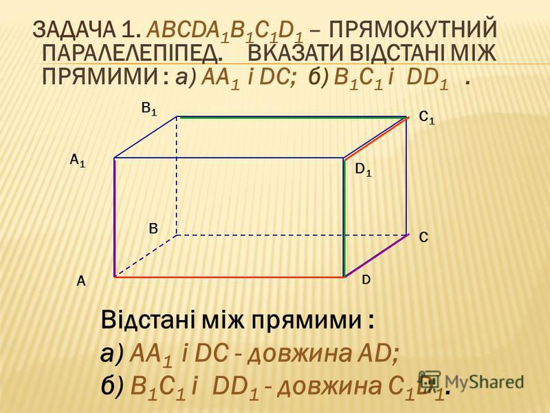 ЗАДАЧА 1. ABCDA 1 B 1 C 1 D 1 – ПРЯМОКУТНИЙ ПАРАЛЕЛЕПІПЕД. ВКАЗАТИ ВІДСТАНІ МІЖ ПРЯМИМИ : а) AA 1 і DС; б) B 1 C 1 і DD 1. Відстані між прямими : а) AA 1 і DС - довжина AD; б) B 1 C 1 і DD 1 - довжина C 1 D 1. A A1A1 B C D B1B1 C1C1 D1D1