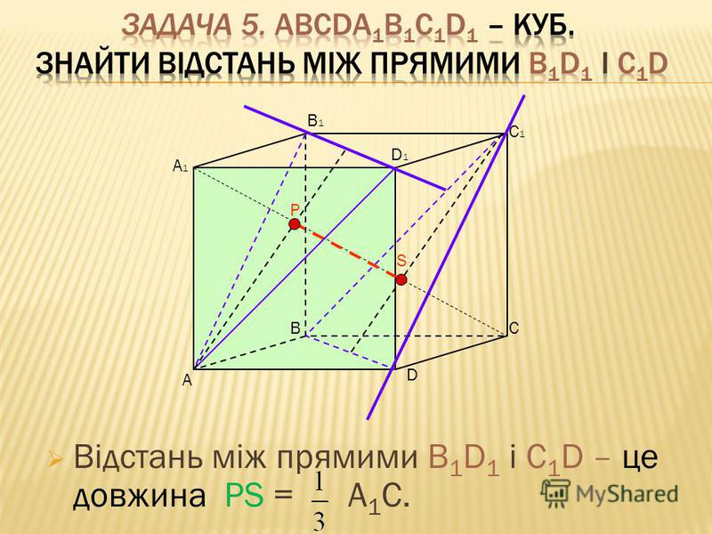 Відстань між прямими В 1 D 1 і С 1 D – це довжина PS = A 1 C. А ВС D D1D1 А1А1 В1В1 С1С1 Р S