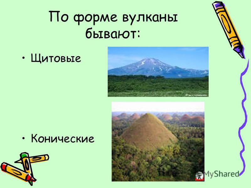 По форме вулканы бывают: Щитовые Конические