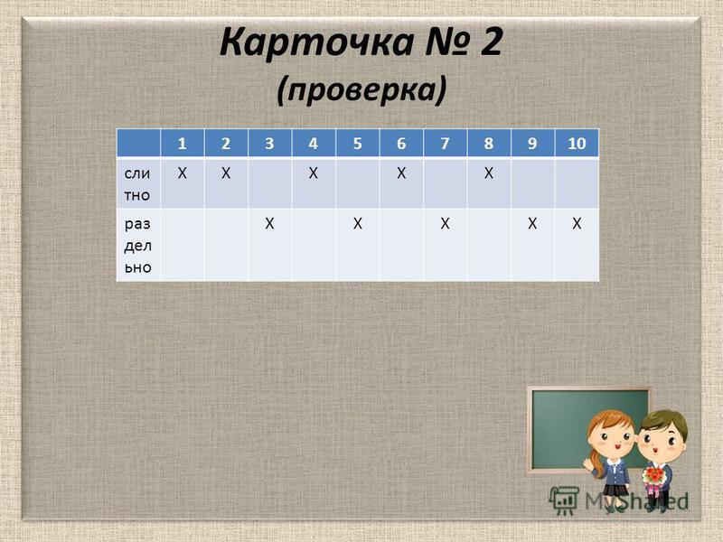 Карточка 2 (проверка) 12345678910 слитно ХХХХХ раздельно ХХХХХ
