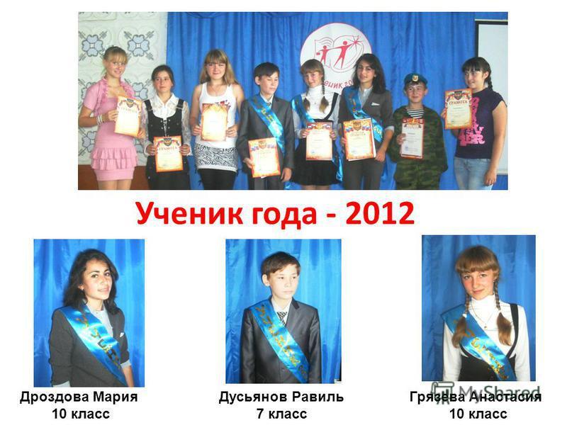 Ученик года - 2012 Дроздова Мария 10 класс Дусьянов Равиль 7 класс Грязева Анастасия 10 класс