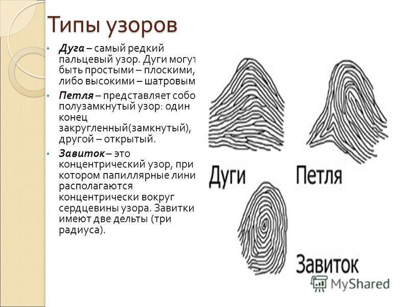 Дактилоскопия Дактилоскопи́я (от греч. δάκτυλος палец и σκοπέω смотрю, наблюдаю) метод идентификации человека по отпечаткам пальцев (в том числе по следам пальцев рук), основанный на уникальности рисунка кожи. Широко применяется в криминалистике. Осн