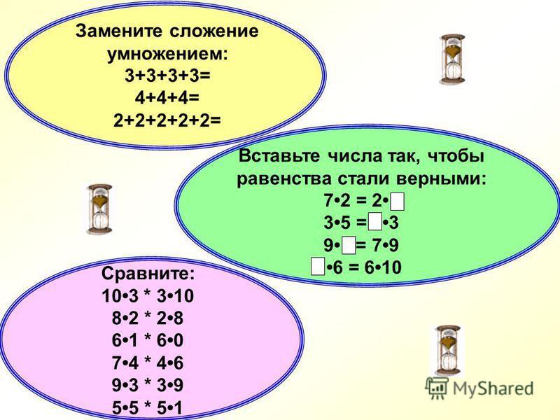 1. Умножение можно заменить: а) сложением одинаковых слагаемых; б) сложением разных слагаемых. 3. При умножении числа на 0 получиться: а) 0;б) тоже число. 4. При умножении числа на 1 получиться: а) 1;б) тоже число. 2. Компоненты при умножении называю
