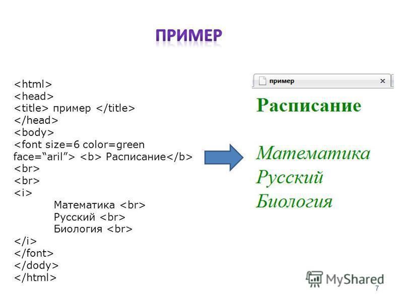 пример Расписание Математика Русский Биология 7