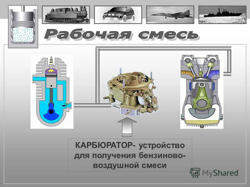 КАРБЮРАТОР- устройство для получения бензиново- воздушной смеси
