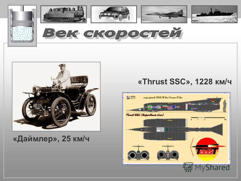 «Даймлер», 25 км/ч «Thrust SSC», 1228 км/ч