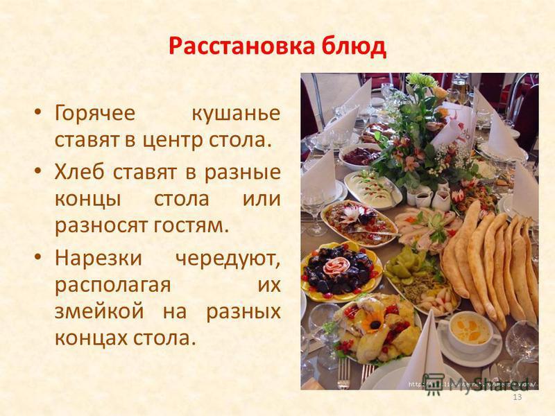 Расстановка блюд Горячее кушанье ставят в центр стола. Хлеб ставят в разные концы стола или разносят гостям. Нарезки чередуют, располагая их змейкой на разных концах стола. 13