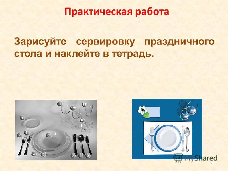 Зарисуйте сервировку праздничного стола и наклейте в тетрадь. 26 Практическая работа