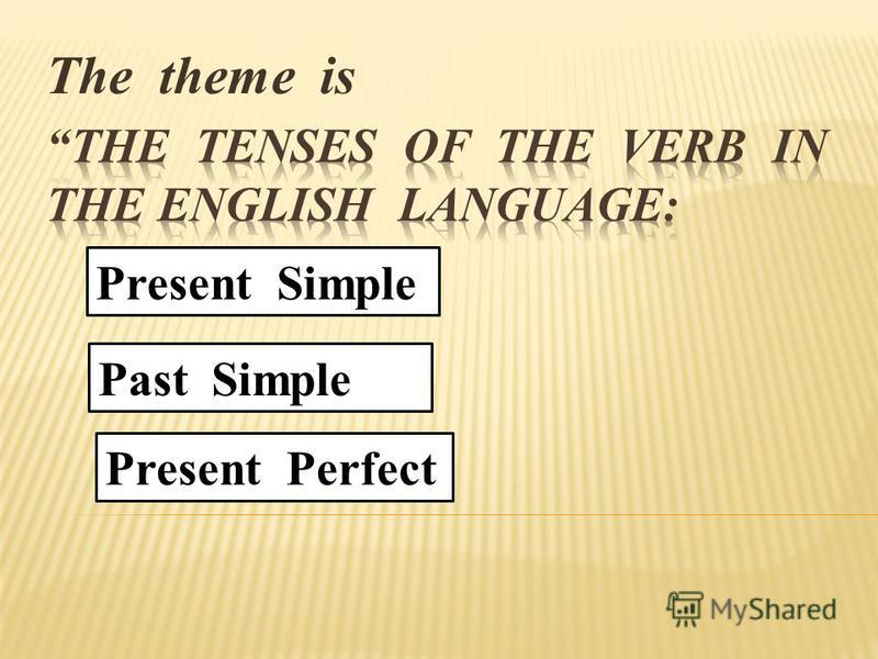 The theme is Present Simple Past Simple Present Perfect