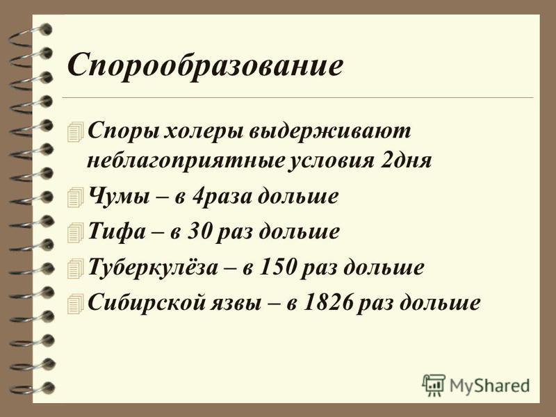 Спорообразование 4 Споры холеры выдерживают неблагоприятные условия 2 дня 4 Чумы – в 4 раза дольше 4 Тифа – в 30 раз дольше 4 Туберкулёза – в 150 раз дольше 4 Сибирской язвы – в 1826 раз дольше