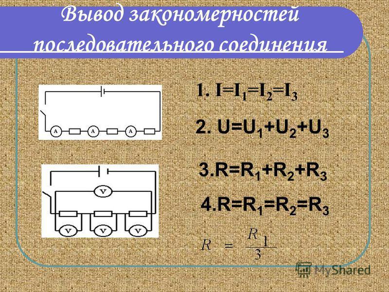 Вывод закономерностей последовательного соединения 1. I=I 1 =I 2 =I 3 2. U=U 1 +U 2 +U 3 3.R=R 1 +R 2 +R 3 4.R=R 1 =R 2 =R 3