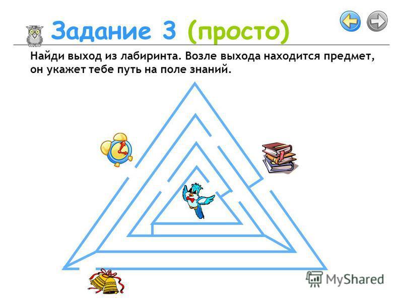 Задание 3 (просто) Найди выход из лабиринта. Возле выхода находится предмет, он укажет тебе путь на поле знаний.