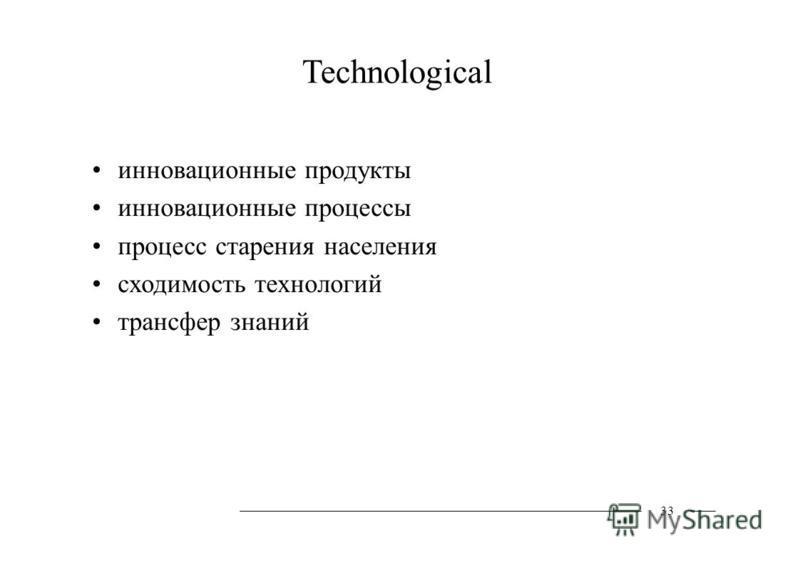 Technological инновационные продукты инновационные процессы процесс старения населения сходимость технологий трансфер знаний 33
