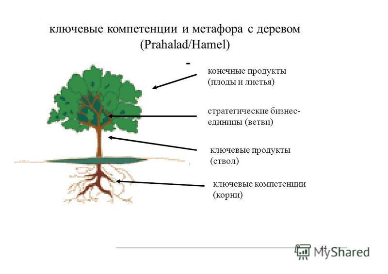 ключевые компетенции и метафора с деревом (Prahalad/Hamel) 44 конечные продукты (плоды и листья) стратегические бизнес- единицы (ветви) ключевые продукты (ствол) ключевые компетенции (корни)