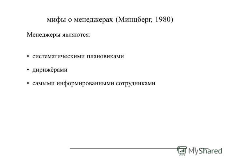 мифы о менеджерах (Минцберг, 1980) Менеджеры являются: систематическими плановиками дирижёрами самыми информированными сотрудниками 58