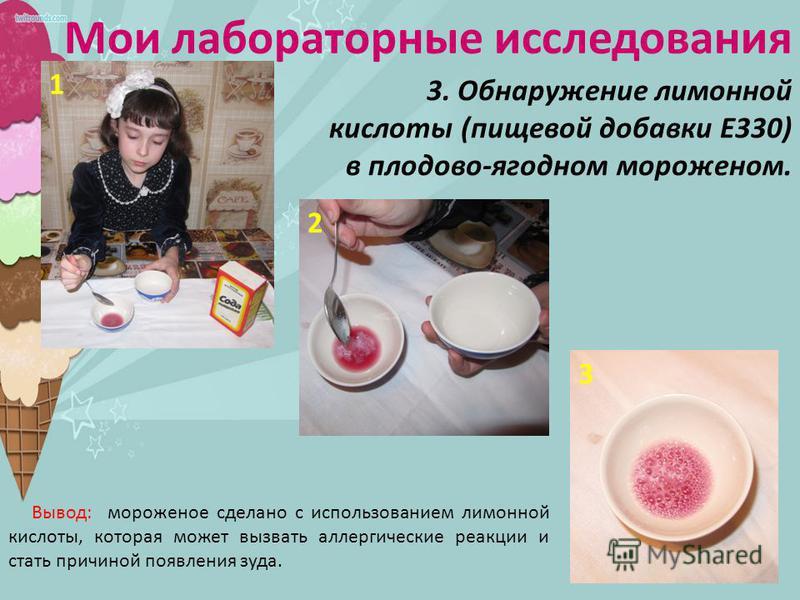 Мои лабораторные исследования 3. Обнаружение лимонной кислоты (пищевой добавки Е330) в плодово-ягодном мороженом. 1 2 3 Вывод: мороженое сделано с использованием лимонной кислоты, которая может вызвать аллергические реакции и стать причиной появления