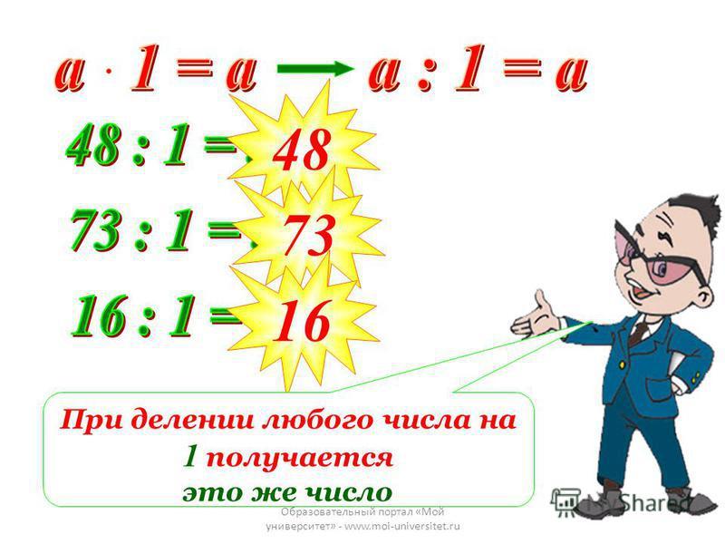 Образовательный портал «Мой университет» - www.moi-universitet.ru 48 73 16 При делении любого числа на 1 получается это же число