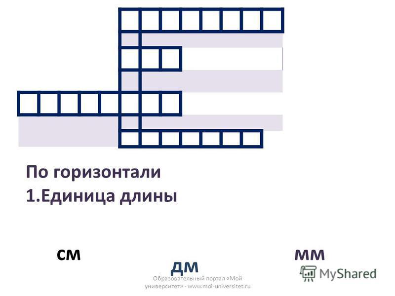 Образовательный портал «Мой университет» - www.moi-universitet.ru По горизонтали 1. Единица длины см дм мм